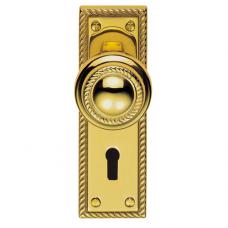 Georgian Door Knob on Lock Backplate - FG5 (FG5) Grant Haze Hampshire Architectural Ironmongers and Builders Merchants